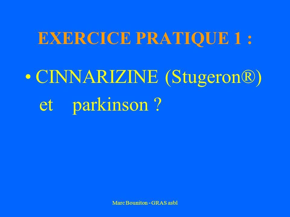 Marc Bouniton - GRAS asbl EXERCICE PRATIQUE 1 : CINNARIZINE (Stugeron®) et parkinson ?