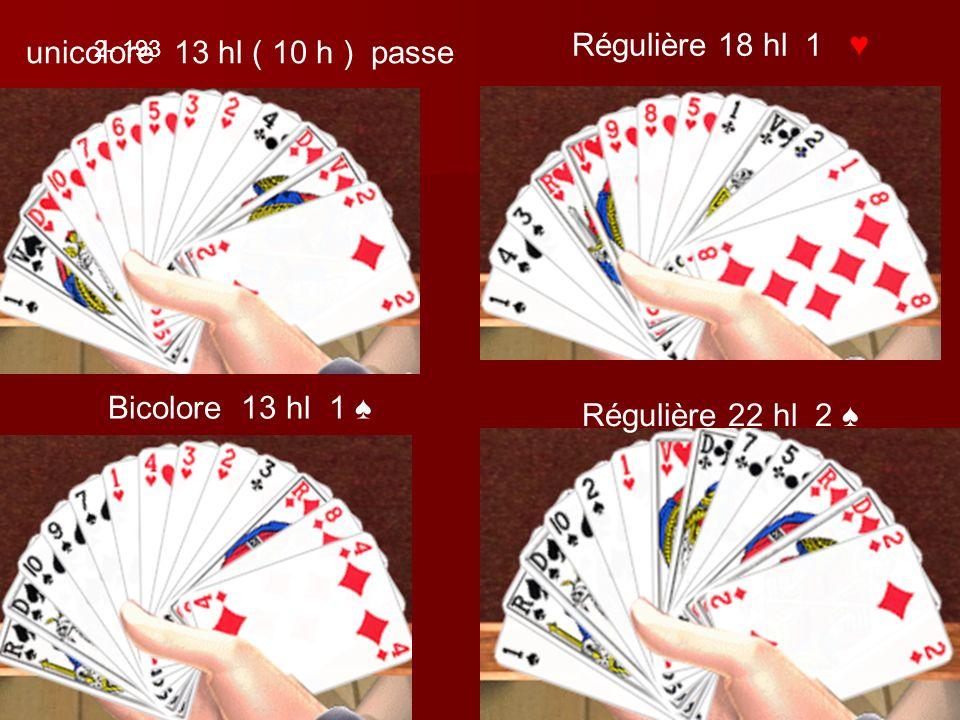 unicolore 13 hl ( 10 h ) passe Régulière 18 hl 1 Bicolore 13 hl 1 Régulière 22 hl 2