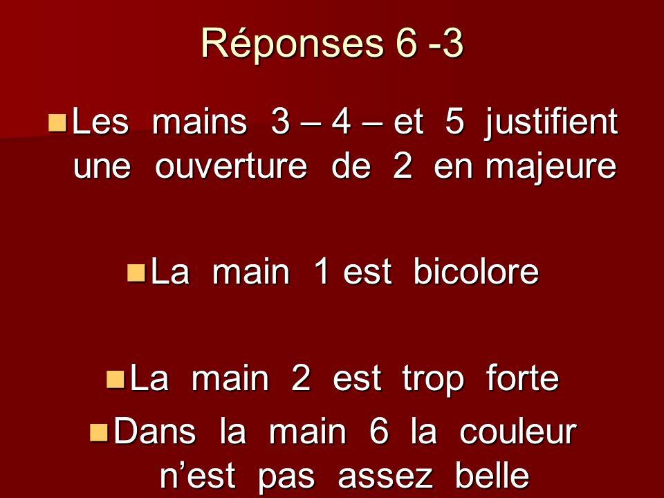 Réponses 6 -3 Les mains 3 – 4 – et 5 justifient une ouverture de 2 en majeure Les mains 3 – 4 – et 5 justifient une ouverture de 2 en majeure La main