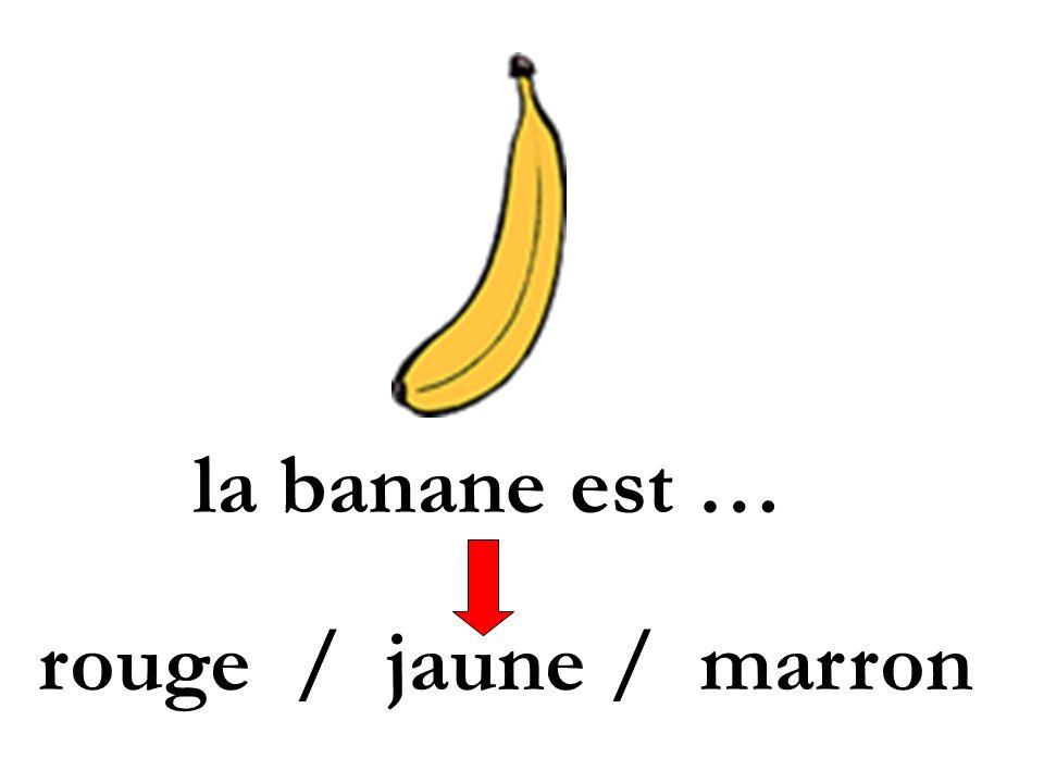 la banane est … rouge / jaune / marron