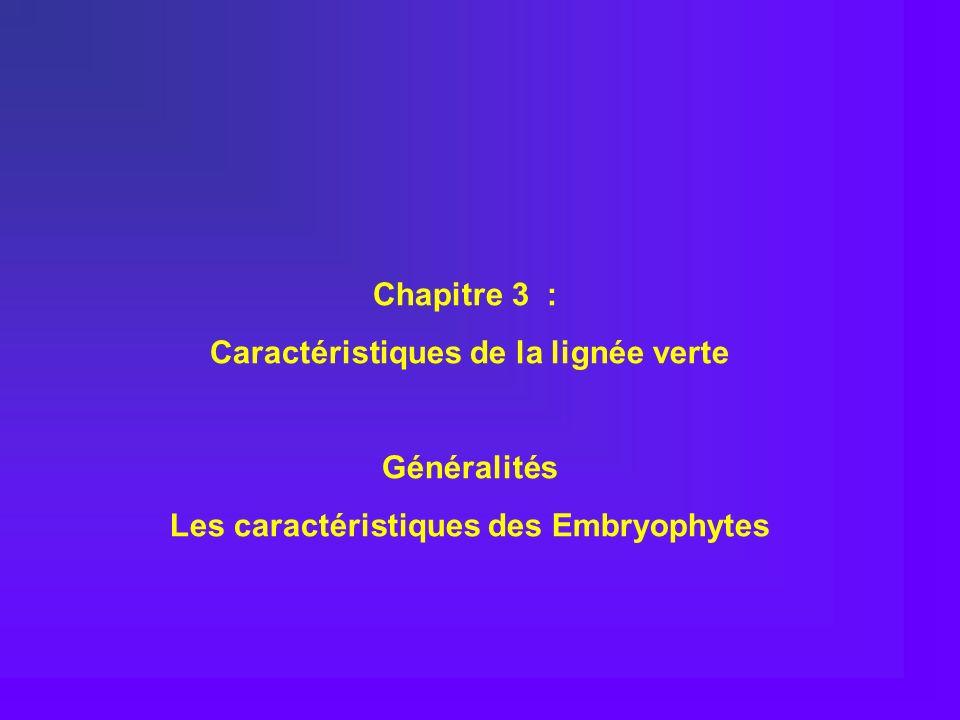 Chapitre 3 : Caractéristiques de la lignée verte Généralités Les caractéristiques des Embryophytes