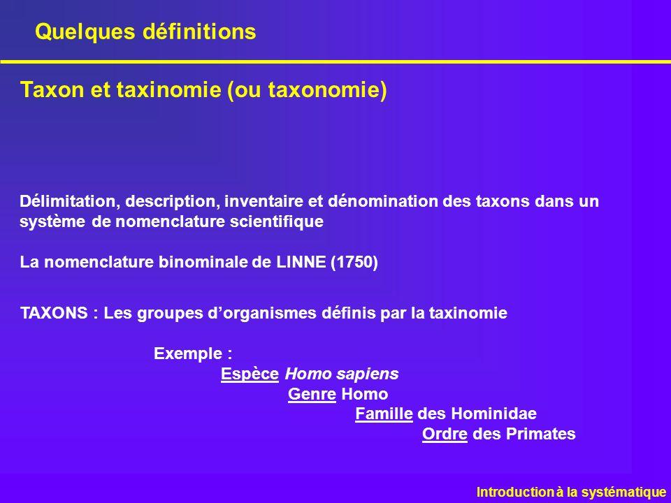 Quelques définitions Taxon et taxinomie (ou taxonomie) Introduction à la systématique Délimitation, description, inventaire et dénomination des taxons