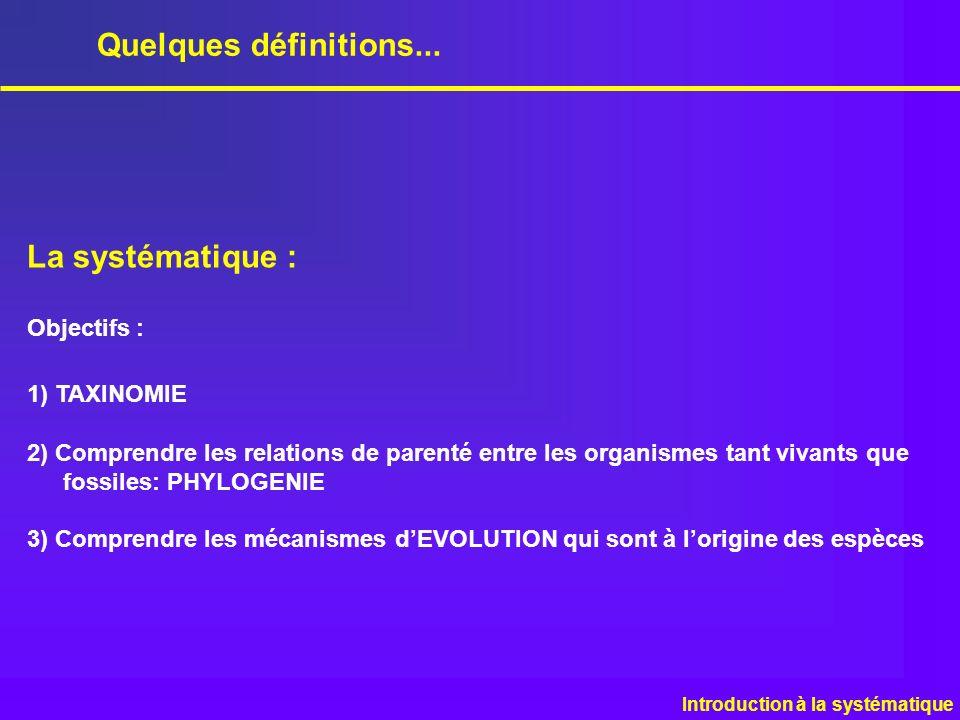 Quelques définitions... La systématique : Objectifs : 1) TAXINOMIE 2) Comprendre les relations de parenté entre les organismes tant vivants que fossil