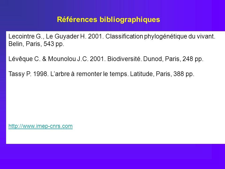 Lecointre G., Le Guyader H. 2001. Classification phylogénétique du vivant. Belin, Paris, 543 pp. Lévêque C. & Mounolou J.C. 2001. Biodiversité. Dunod,