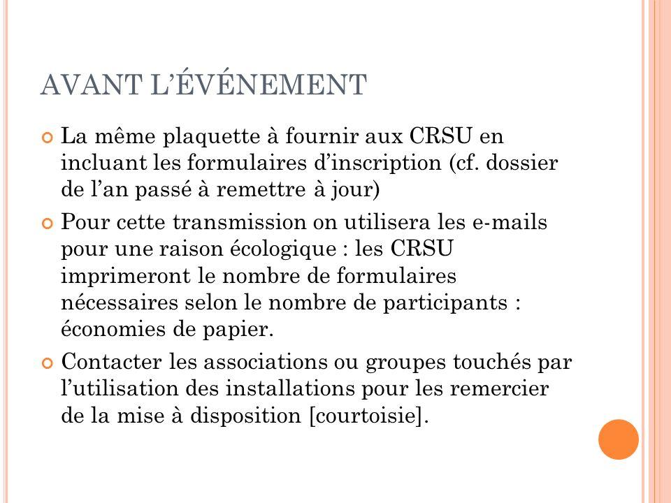 AVANT LÉVÉNEMENT La même plaquette à fournir aux CRSU en incluant les formulaires dinscription (cf.
