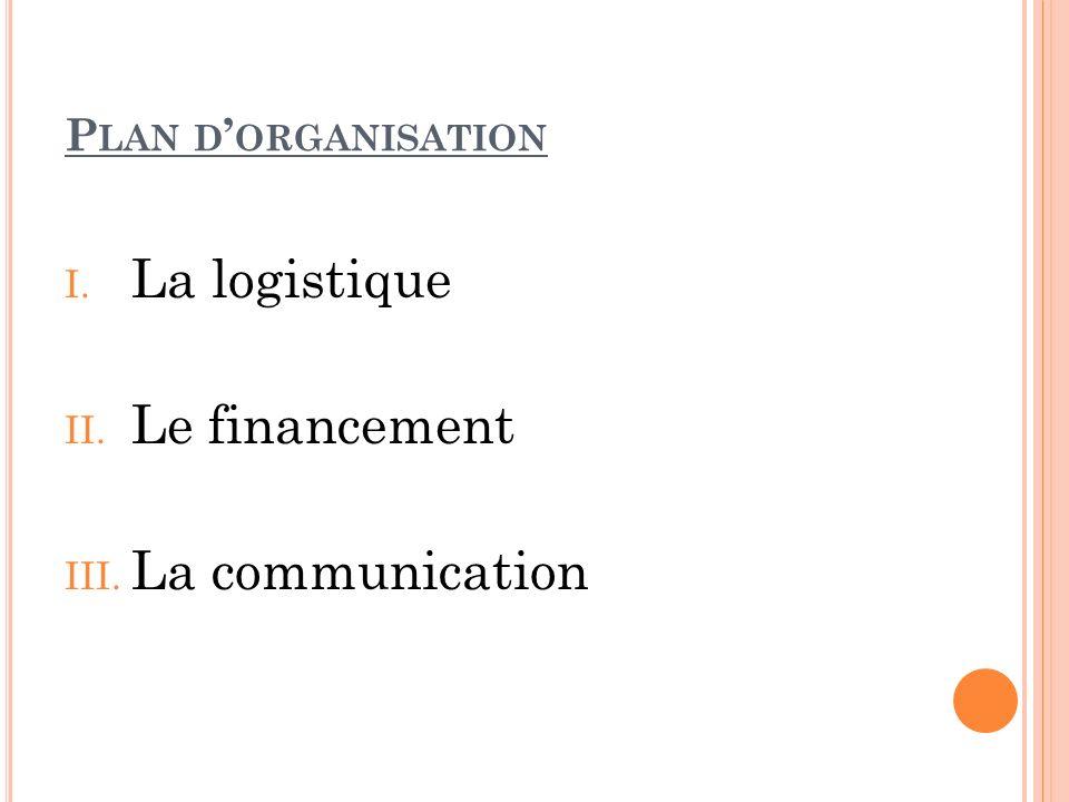 P LAN D ORGANISATION I. La logistique II. Le financement III. La communication