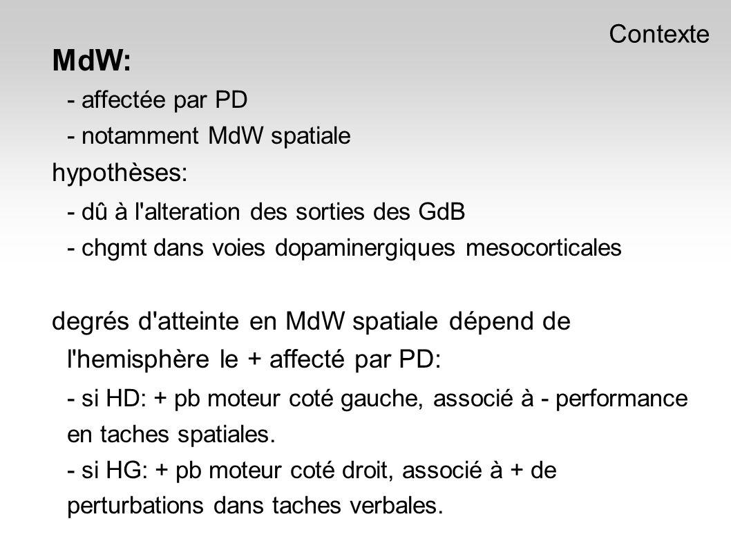 MdW: - affectée par PD - notamment MdW spatiale hypothèses: - dû à l alteration des sorties des GdB - chgmt dans voies dopaminergiques mesocorticales degrés d atteinte en MdW spatiale dépend de l hemisphère le + affecté par PD: - si HD: + pb moteur coté gauche, associé à - performance en taches spatiales.