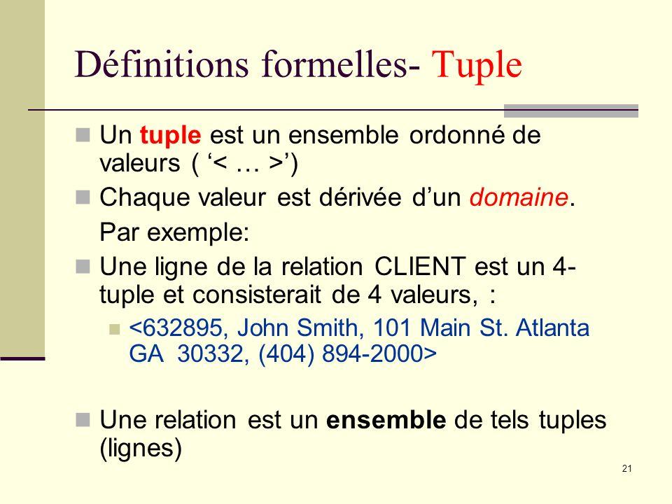 21 Définitions formelles- Tuple Un tuple est un ensemble ordonné de valeurs ( ) Chaque valeur est dérivée dun domaine. Par exemple: Une ligne de la re