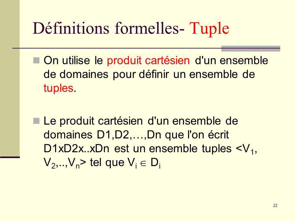 22 Définitions formelles- Tuple On utilise le produit cartésien d'un ensemble de domaines pour définir un ensemble de tuples. Le produit cartésien d'u