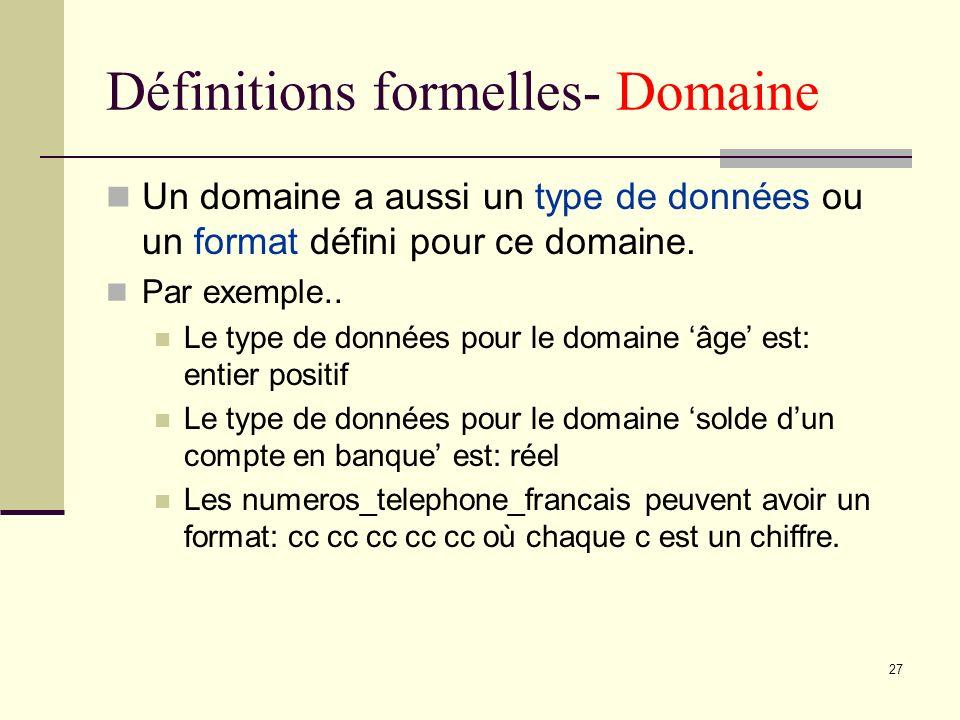 27 Définitions formelles- Domaine Un domaine a aussi un type de données ou un format défini pour ce domaine. Par exemple.. Le type de données pour le