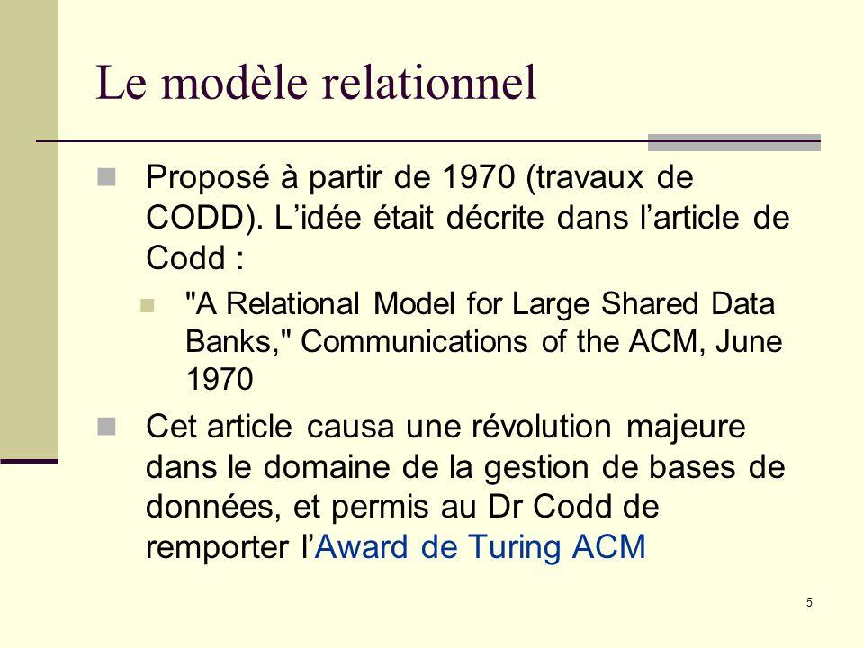 5 Proposé à partir de 1970 (travaux de CODD). Lidée était décrite dans larticle de Codd :