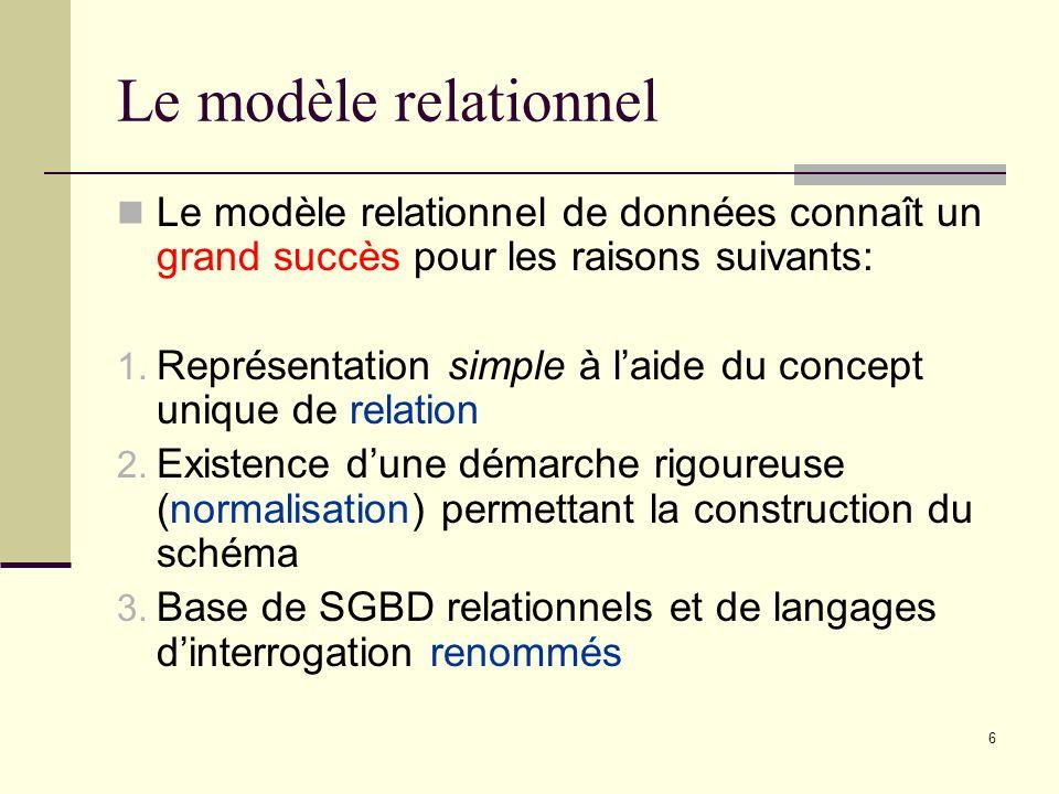 6 Le modèle relationnel Le modèle relationnel de données connaît un grand succès pour les raisons suivants: 1. Représentation simple à laide du concep