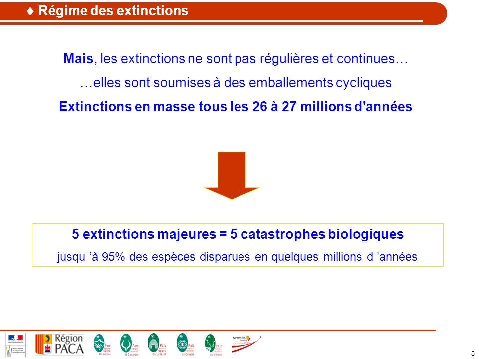 8 Mais, les extinctions ne sont pas régulières et continues… …elles sont soumises à des emballements cycliques Extinctions en masse tous les 26 à 27 m