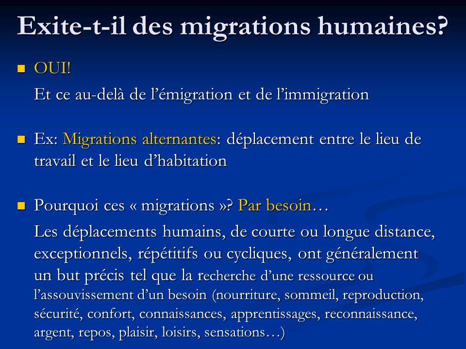 Exite-t-il des migrations humaines? OUI! OUI! Et ce au-delà de lémigration et de limmigration Ex: Migrations alternantes: déplacement entre le lieu de