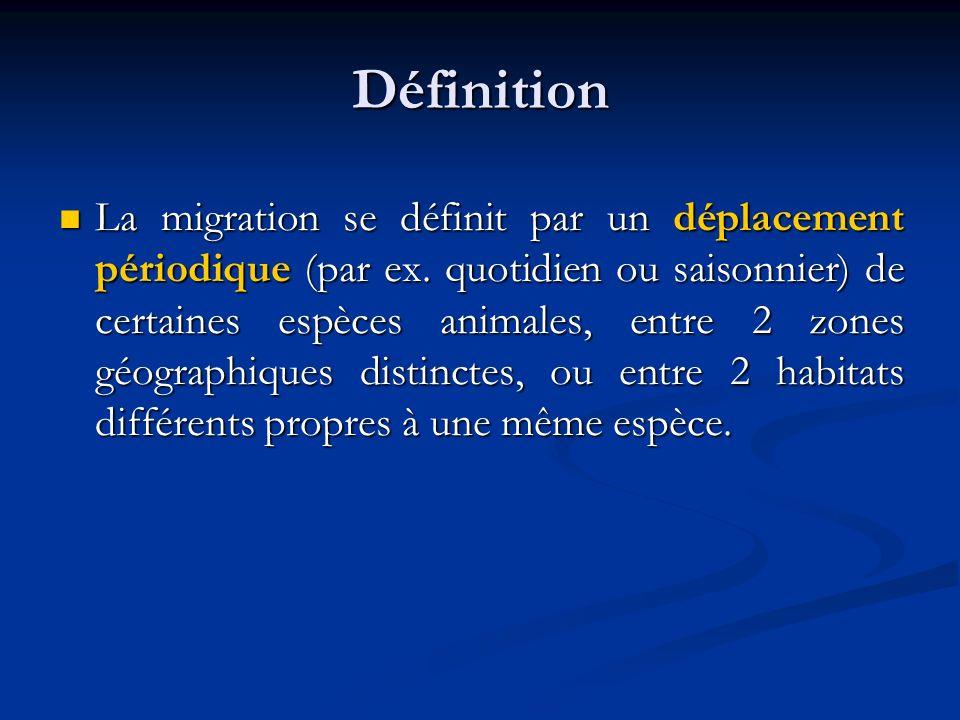 Définition La migration se définit par un déplacement périodique (par ex. quotidien ou saisonnier) de certaines espèces animales, entre 2 zones géogra