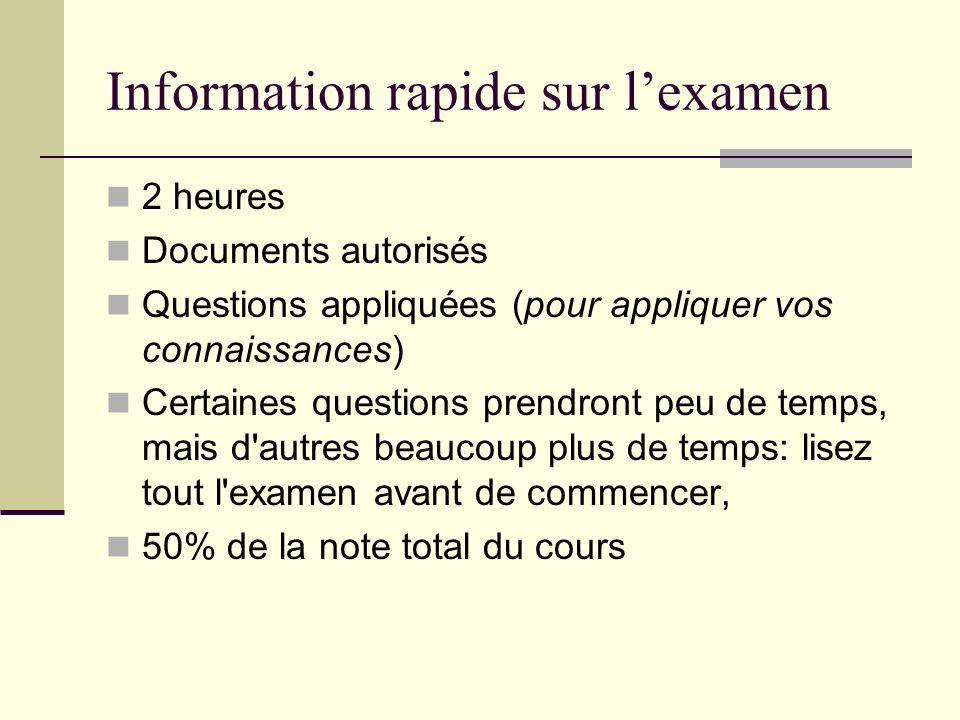 Information rapide sur lexamen 2 heures Documents autorisés Questions appliquées (pour appliquer vos connaissances) Certaines questions prendront peu
