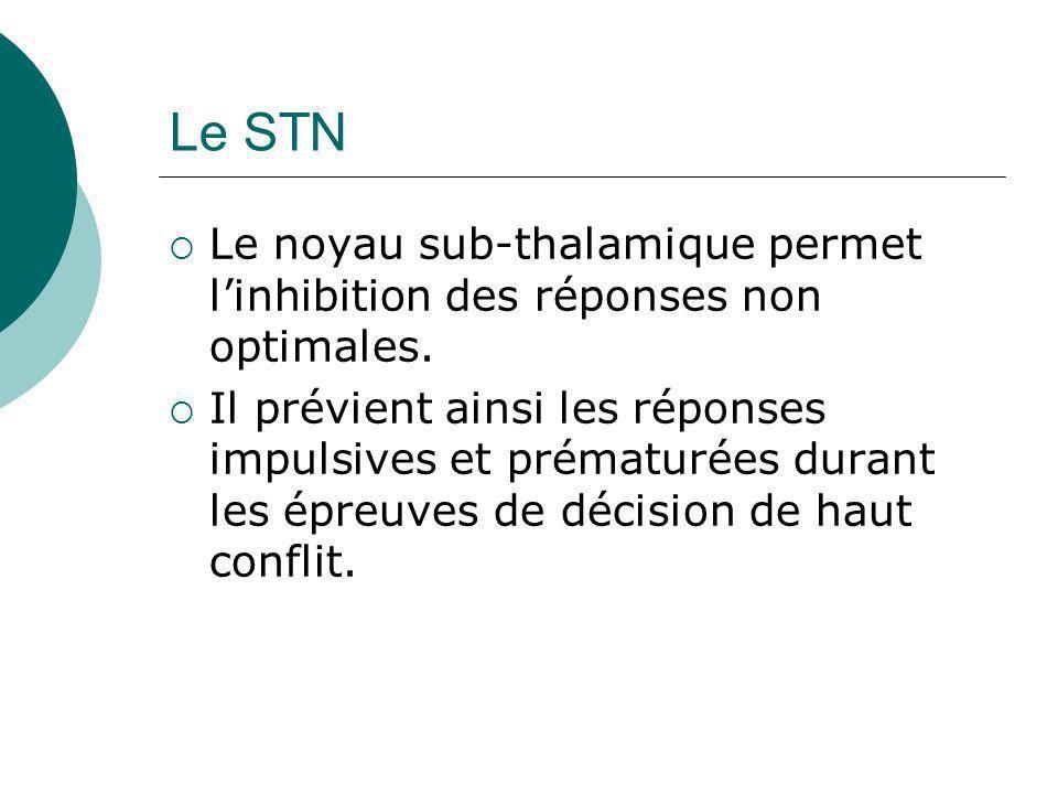 Le STN Le noyau sub-thalamique permet linhibition des réponses non optimales. Il prévient ainsi les réponses impulsives et prématurées durant les épre