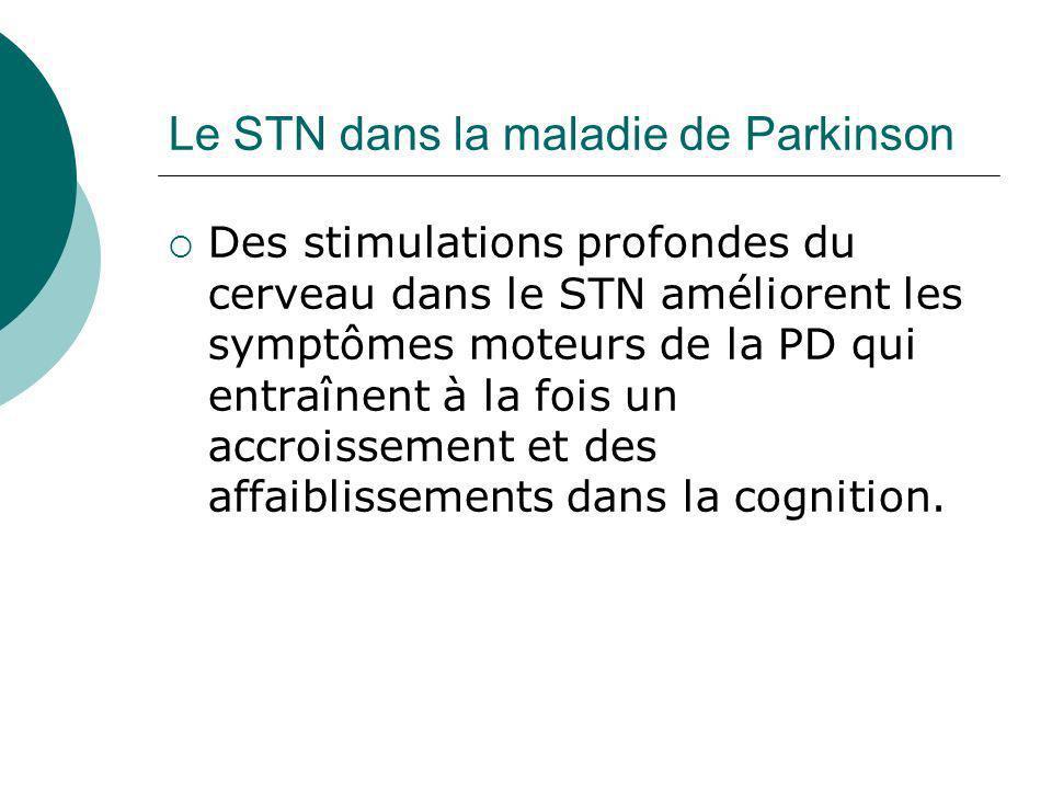 Le STN dans la maladie de Parkinson Des stimulations profondes du cerveau dans le STN améliorent les symptômes moteurs de la PD qui entraînent à la fo