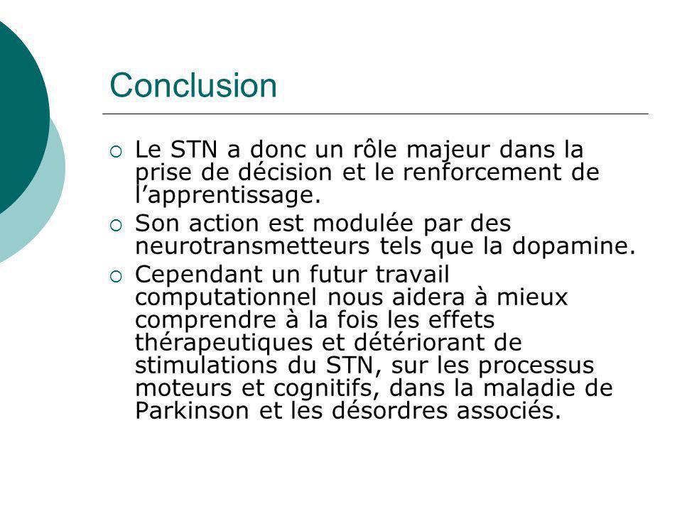 Conclusion Le STN a donc un rôle majeur dans la prise de décision et le renforcement de lapprentissage. Son action est modulée par des neurotransmette