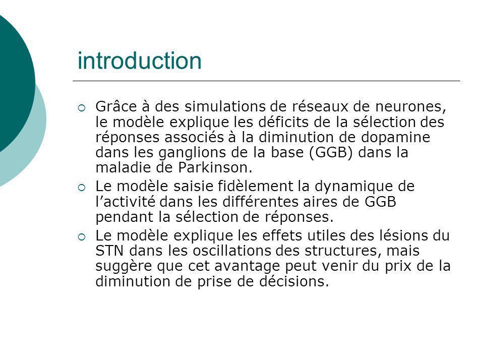 introduction Grâce à des simulations de réseaux de neurones, le modèle explique les déficits de la sélection des réponses associés à la diminution de
