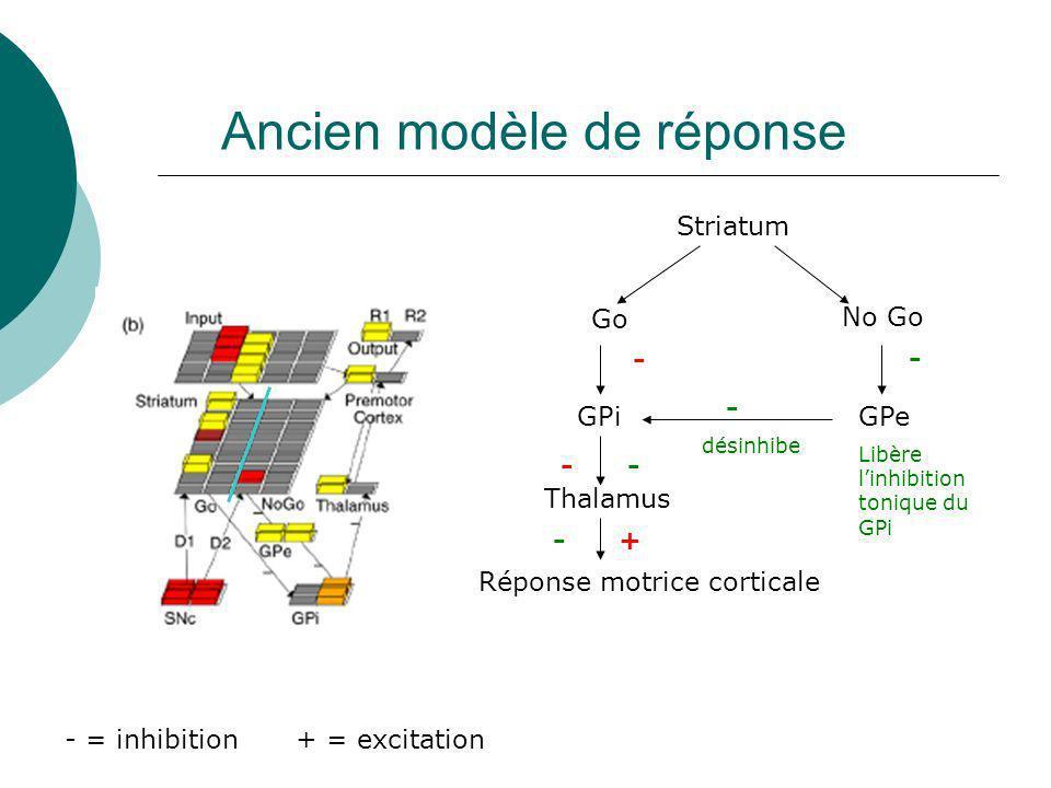 Ancien modèle de réponse Striatum Go No Go GPiGPe - - + = excitation- = inhibition - Thalamus Réponse motrice corticale désinhibe + Libère linhibition