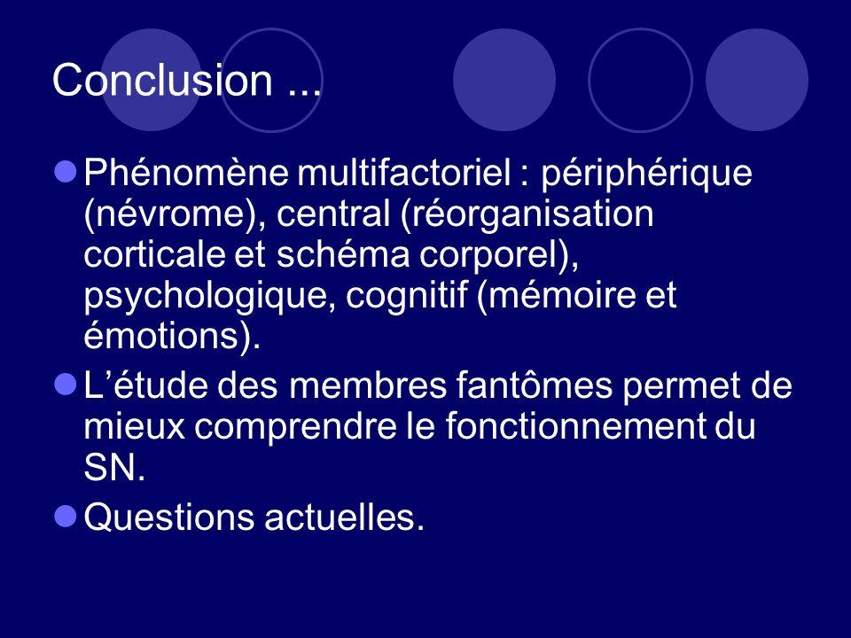 Conclusion... Phénomène multifactoriel : périphérique (névrome), central (réorganisation corticale et schéma corporel), psychologique, cognitif (mémoi
