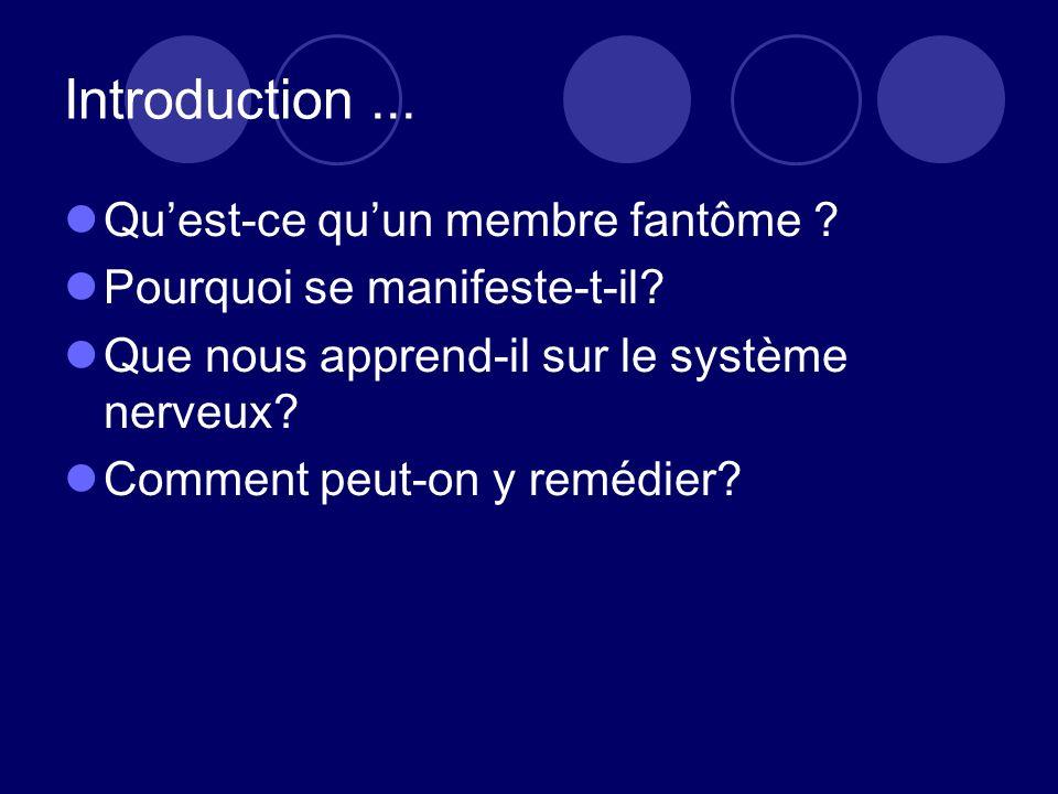 Introduction... Quest-ce quun membre fantôme ? Pourquoi se manifeste-t-il? Que nous apprend-il sur le système nerveux? Comment peut-on y remédier?