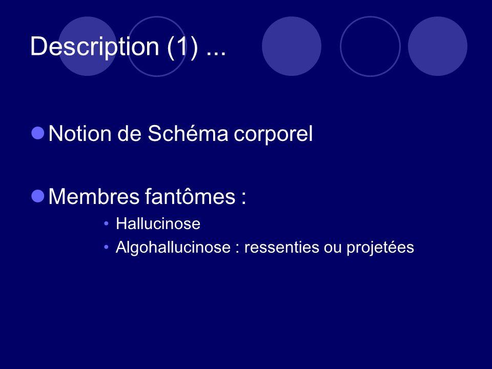 Description (1)... Notion de Schéma corporel Membres fantômes : Hallucinose Algohallucinose : ressenties ou projetées