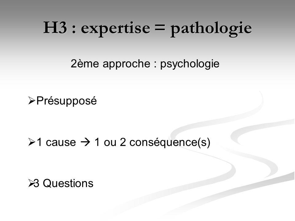 H3 : expertise = pathologie 2ème approche : psychologie Présupposé 1 cause 1 ou 2 conséquence(s) 3 Questions