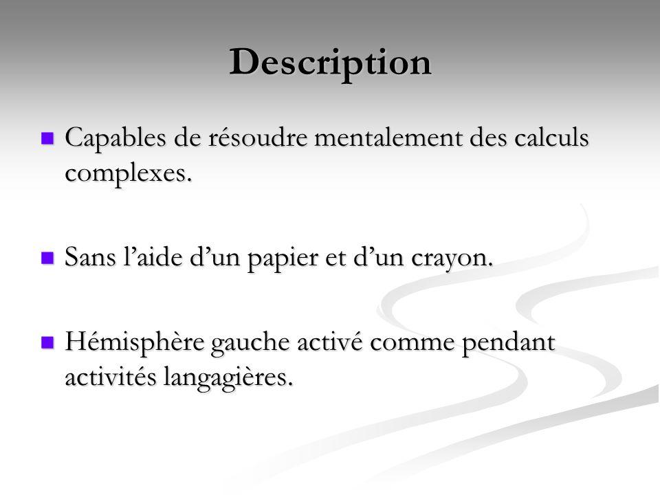 Description Capables de résoudre mentalement des calculs complexes.