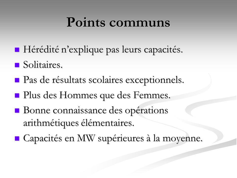 Points communs Hérédité nexplique pas leurs capacités.