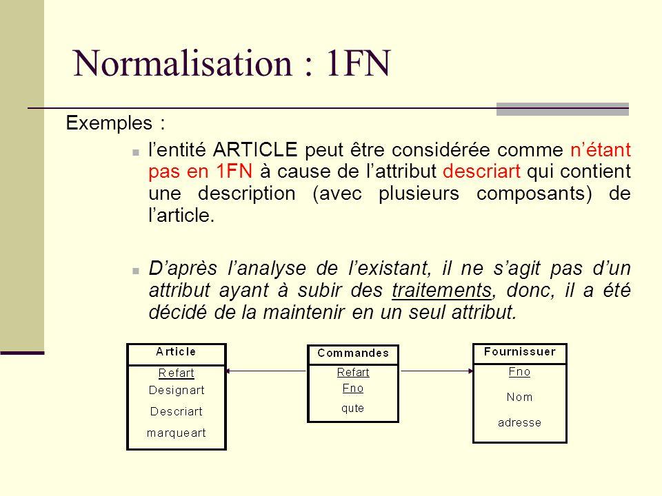 Normalisation : 1FN Exemples : lentité ARTICLE peut être considérée comme nétant pas en 1FN à cause de lattribut descriart qui contient une descriptio