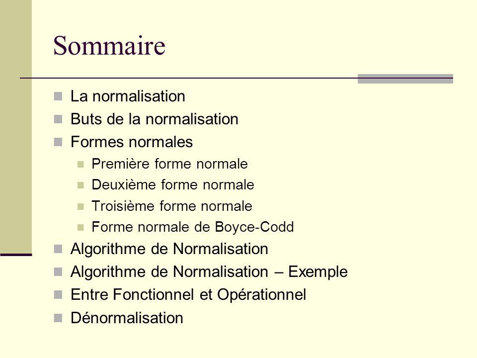Sommaire La normalisation Buts de la normalisation Formes normales Première forme normale Deuxième forme normale Troisième forme normale Forme normale