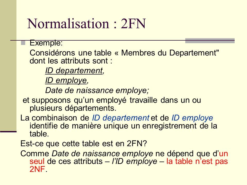 Normalisation : 2FN Exemple: Considérons une table « Membres du Departement