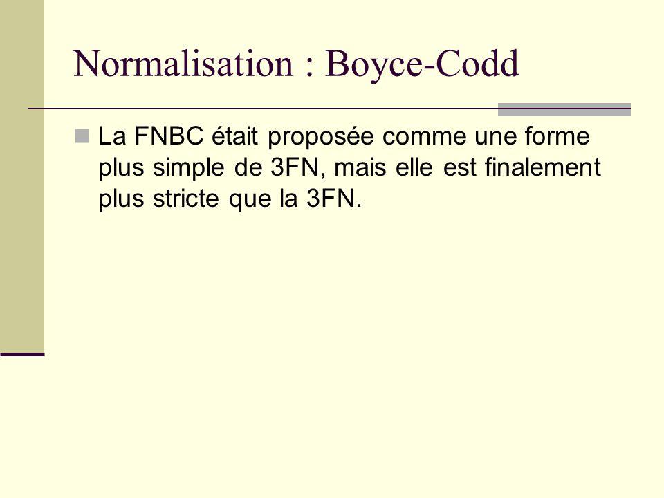 Normalisation : Boyce-Codd La FNBC était proposée comme une forme plus simple de 3FN, mais elle est finalement plus stricte que la 3FN.