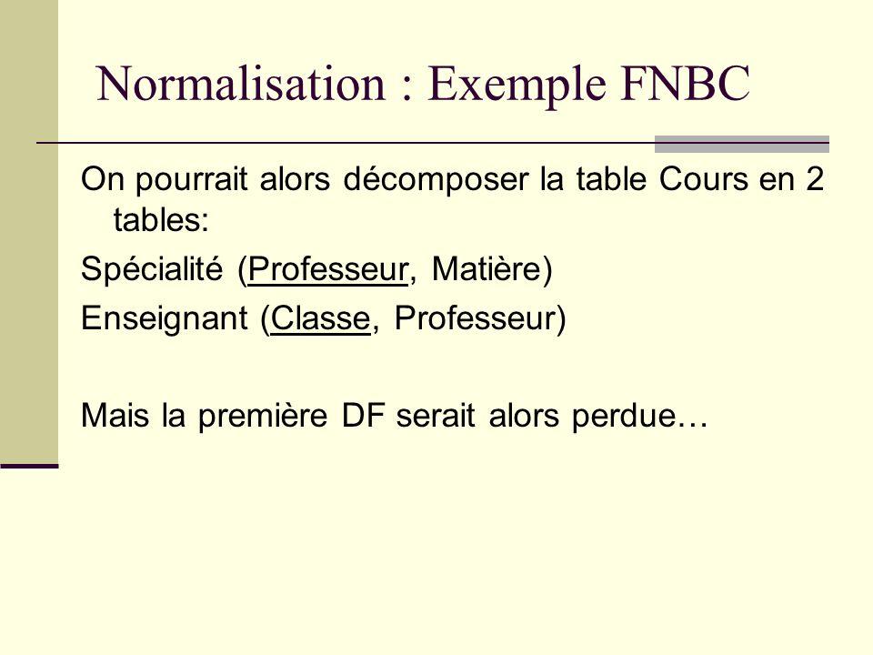 Normalisation : Exemple FNBC On pourrait alors décomposer la table Cours en 2 tables: Spécialité (Professeur, Matière) Enseignant (Classe, Professeur)