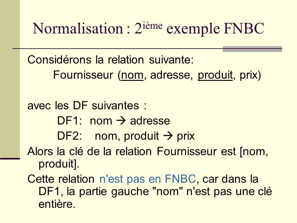 Normalisation : 2 ième exemple FNBC Considérons la relation suivante: Fournisseur (nom, adresse, produit, prix) avec les DF suivantes : DF1: nom adres