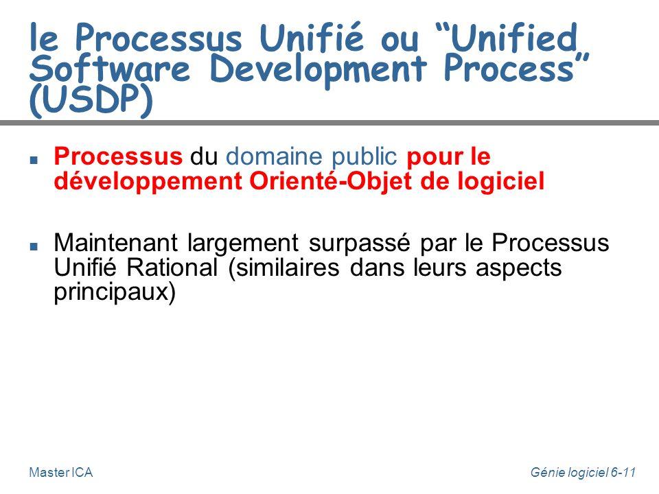 Génie logiciel 6-10Master ICA Le Processus Unifié n Les auteurs principaux d'UML, I. Jacobson, G. Booch et J. Rumbaugh, proposent une démarche de déve