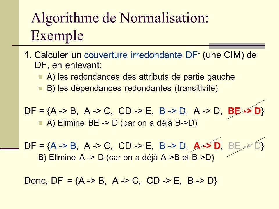Algorithme de Normalisation: Exemple 1. Calculer un couverture irredondante DF - (une CIM) de DF, en enlevant: A) les redondances des attributs de par