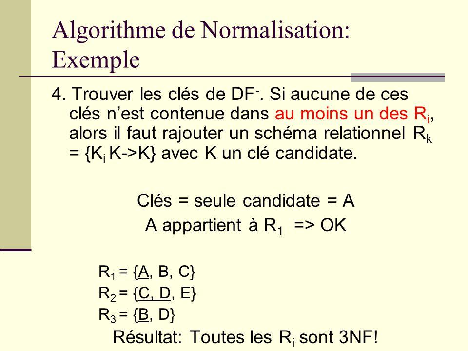 Algorithme de Normalisation: Exemple 4. Trouver les clés de DF -. Si aucune de ces clés nest contenue dans au moins un des R i, alors il faut rajouter
