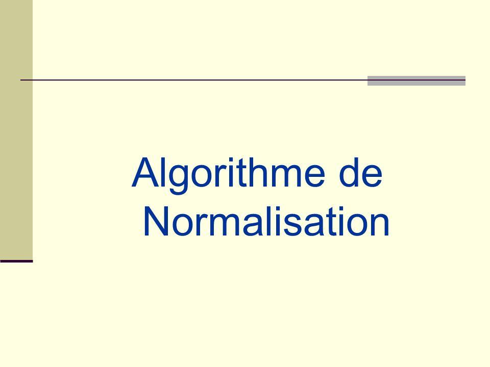 Lalgorithme de conception de schéma relationnel en 3NF Théorème: Tout schéma relationnel peut se décomposer en schémas sous 3 ième forme normale avec préservation des Dépendances Fonctionnelles Il existe divers algorithmes de décomposition (nous nen étudierons quun « classique » dû à Bernstein