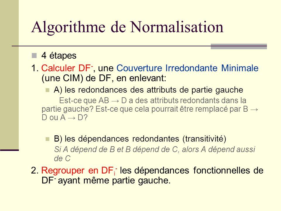 Algorithme de Normalisation 4 étapes 1. Calculer DF -, une Couverture Irredondante Minimale (une CIM) de DF, en enlevant: A) les redondances des attri