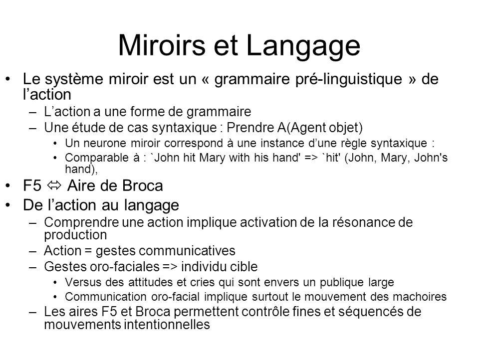 Miroirs et Langage Le système miroir est un « grammaire pré-linguistique » de laction –Laction a une forme de grammaire –Une étude de cas syntaxique :