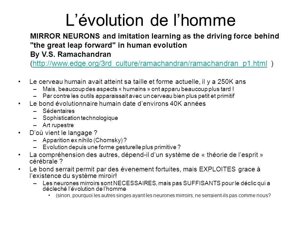Lévolution de lhomme Le cerveau humain avait atteint sa taille et forme actuelle, il y a 250K ans –Mais, beaucoup des aspects « humains » ont apparu b