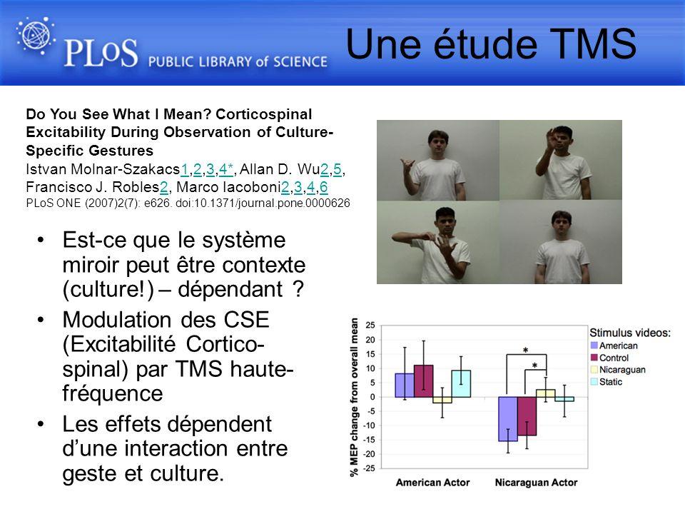 Est-ce que le système miroir peut être contexte (culture!) – dépendant ? Modulation des CSE (Excitabilité Cortico- spinal) par TMS haute- fréquence Le