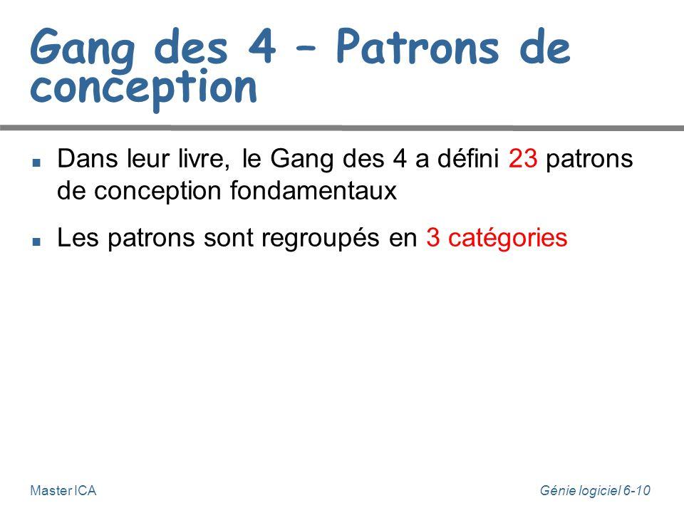 Génie logiciel 6-10 Master ICA Gang des 4 – Patrons de conception Dans leur livre, le Gang des 4 a défini 23 patrons de conception fondamentaux Les patrons sont regroupés en 3 catégories