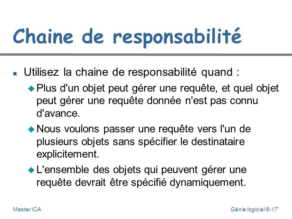 Génie logiciel 6-17 Master ICA Chaine de responsabilité Utilisez la chaine de responsabilité quand : Plus d un objet peut gérer une requête, et quel objet peut gérer une requête donnée n est pas connu d avance.
