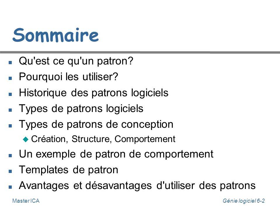 Génie logiciel 6-2 Master ICA Sommaire Qu'est ce qu'un patron? Pourquoi les utiliser? Historique des patrons logiciels Types de patrons logiciels Type