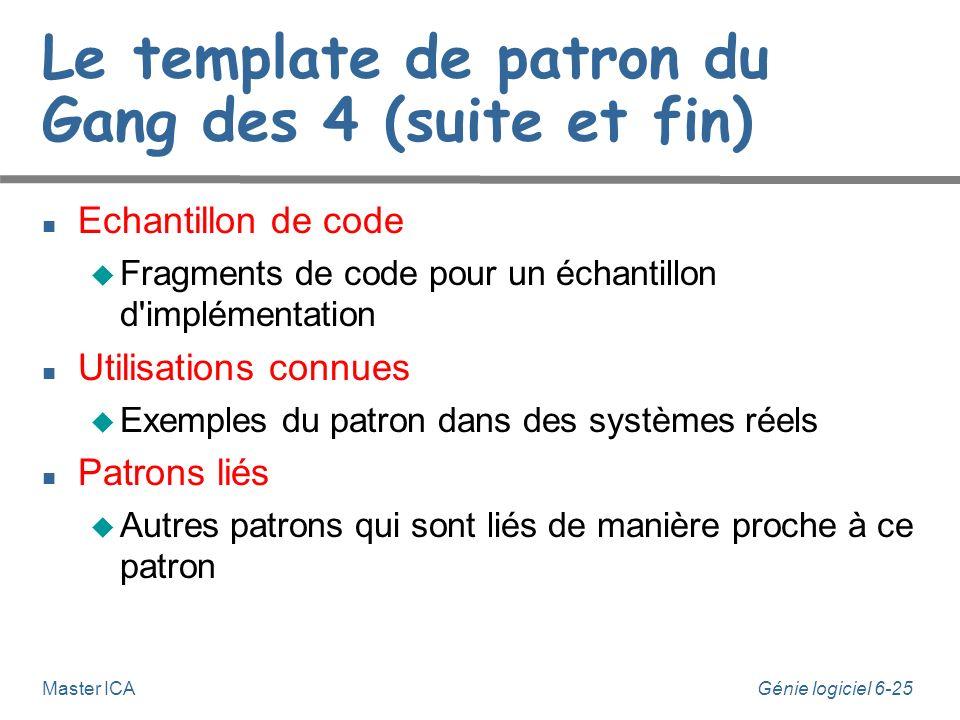 Génie logiciel 6-25 Master ICA Le template de patron du Gang des 4 (suite et fin) Echantillon de code Fragments de code pour un échantillon d implémentation Utilisations connues Exemples du patron dans des systèmes réels Patrons liés Autres patrons qui sont liés de manière proche à ce patron