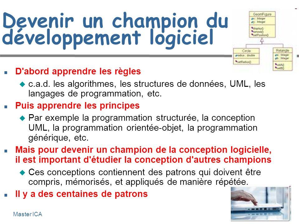 Génie logiciel 6-6 Master ICA Devenir un champion du développement logiciel D'abord apprendre les règles c.a.d. les algorithmes, les structures de don